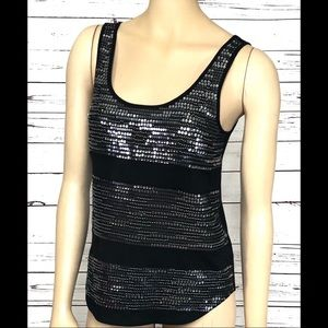 NWT Express Sequined Tank Top Black Size XS